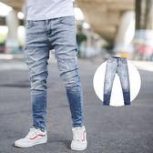 牛仔褲 韓國製漸層刷色小抓破窄管牛仔褲【NB0662J】
