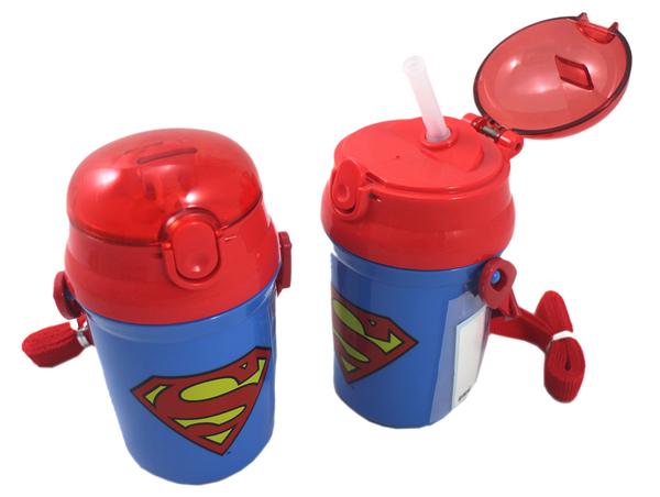 【卡漫城】 超人 彈跳式 340cc 水壺 ㊣版 外出杯 日本製 水瓶 背帶 吸管 按壓式 Superman 幼兒 輕量