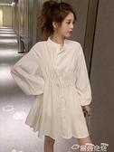襯衫洋裝2021新款顯瘦收腰白色襯衫女長袖設計感小眾上衣中長款連身裙 雲朵