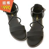 amai《回頭率女神》維也納霧感繞帶一字涼鞋 經典黑
