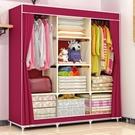 索爾諾布衣櫃鋼管加固加粗簡易布藝衣櫃大號防塵雙人組合收納衣櫥 NMS 全館免運