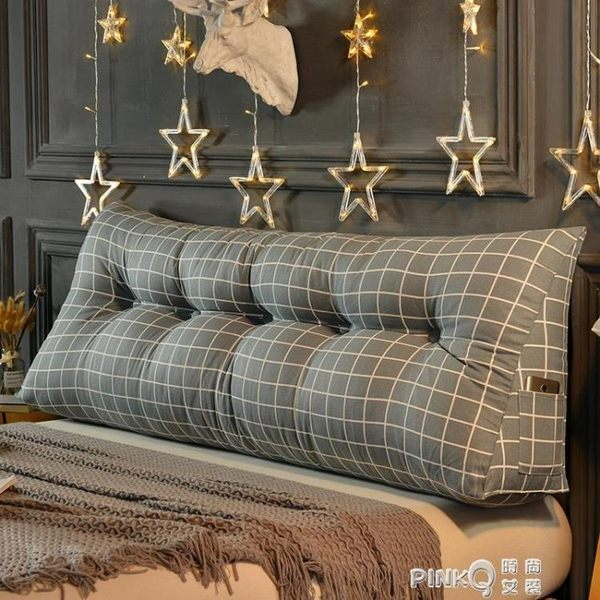 床頭靠墊三角雙人沙發大靠墊軟包榻榻米床上長靠枕腰枕護腰抱  【PINKQ】