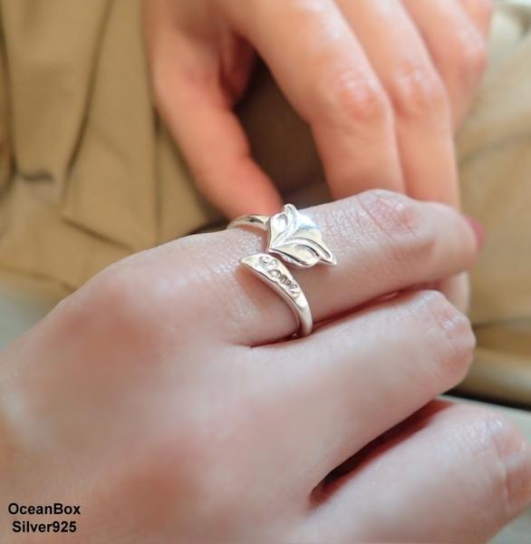 §海洋盒子§開運小物。浪漫愛戀LOVE輕巧尖尾狐狸990足銀純銀戒指.可調整戒圍