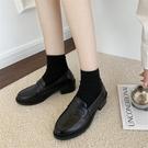 女士樂福鞋 小皮鞋女軟皮新款正韓百搭平底一腳蹬樂福鞋【快速出貨】