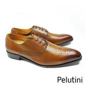 【Pelutini】半雕花牛津紳士鞋 咖啡色(9127-BR)