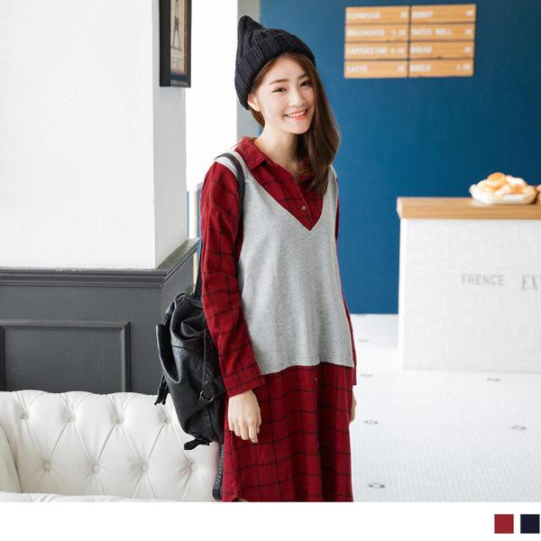 《DA4090》格紋假兩件式襯衫領下擺弧狀設計棉感洋裝.2色 OrangeBear