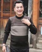 爸爸毛衣  中年男士秋冬加厚圓領毛衣40-50歲中老年爸爸寬鬆休閒保暖針織衫 綠光森林
