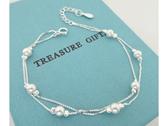 ☆§海洋盒子§☆ 氣質雙層小珍珠純銀手鍊 《925純銀》 銀飾