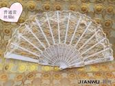 夏季黑色蕾絲棉麻女扇子日式折扇鏤