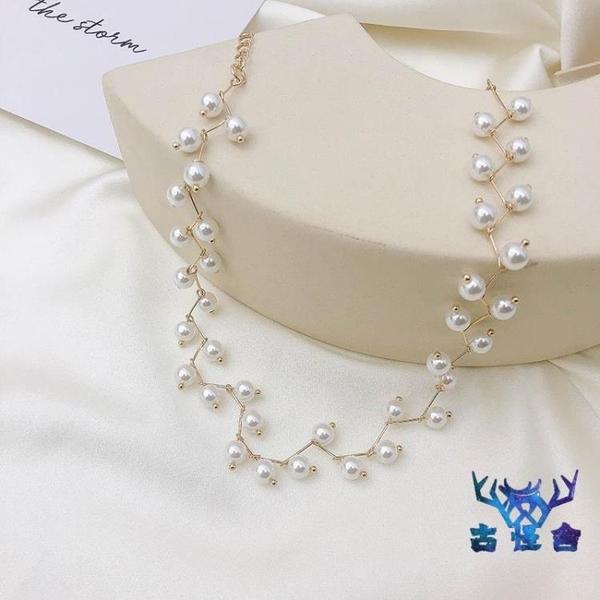 項鍊女鎖骨鍊珍珠個性短款頸帶脖鍊潮時尚個性簡約項圈【古怪舍】