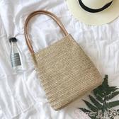 草編包2020草編包ins泰國藤編手提沙灘包 度假大容量編織水桶包側背女包 春季上新