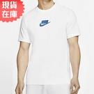 【現貨】Nike NSW 男裝 短袖 休閒 純棉 格子 格紋 藍勾 白【運動世界】CQ5347-100