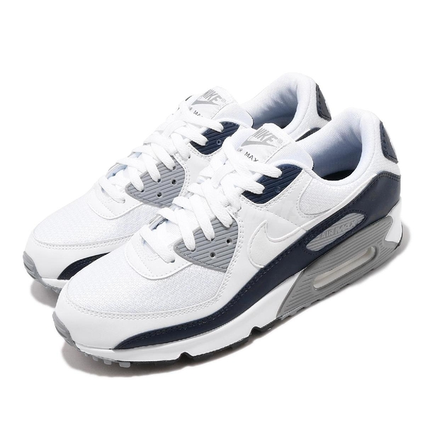 Nike 休閒鞋 Air Max 90 白 深藍 氣墊 男鞋 復古慢跑鞋 【PUMP306】 CT4352-100