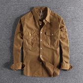 長袖襯衫 2019年秋季新款純色工裝ins長袖襯衫外套男歐美潮流上衣