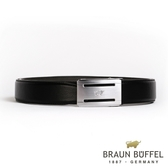 【BRAUN BUFFEL】極致品味紳士自動扣皮帶(銀色)BF19B-004T-SNK