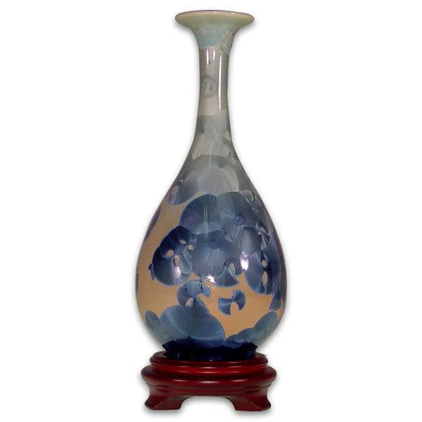 鹿港窯~居家開運結晶釉~8.2英吋長頸小口花瓶 購物清單:1件