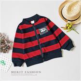 美式字母織標條紋針織外套 長袖外套 百搭 紳士 藍紅 兒童外套 針織外套 秋 男童外套 哎北比童裝