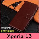 【萌萌噠】SONY Xperia L3 (5.7吋) 瘋馬紋皮紋側翻皮套 商務素面 支架 插卡 磁扣 錢包款手機套