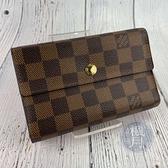 BRAND楓月 LOUIS VUITTON LV 路易威登 N63067 棋盤格 翻蓋 三折 短夾 皮夾 錢包 多夾層