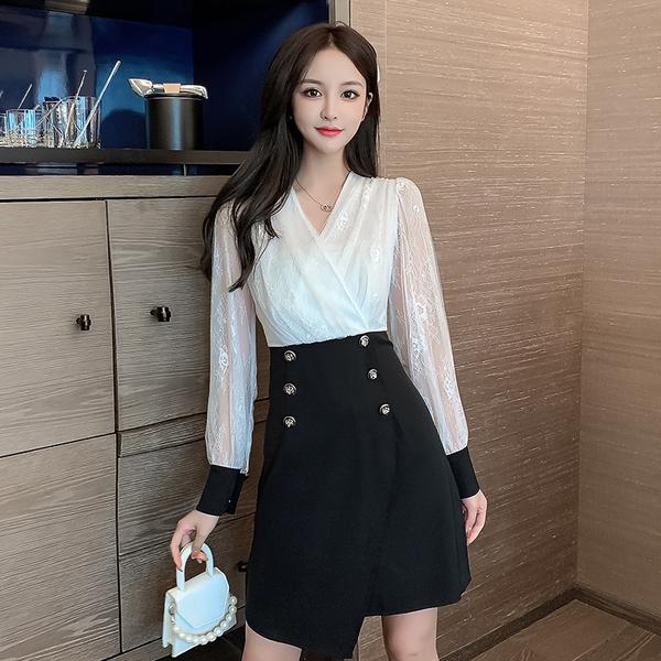 VK旗艦店 韓國風洋氣假兩件網紗蕾絲包臀優雅長袖洋裝