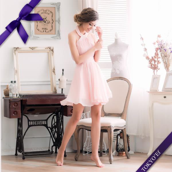 東京衣服 東方美人 顯瘦削肩繞頸壓摺釘珠小禮服(後有綁帶) S尺寸 粉色