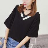 v領t恤女短袖韓范學生寬鬆純棉上衣