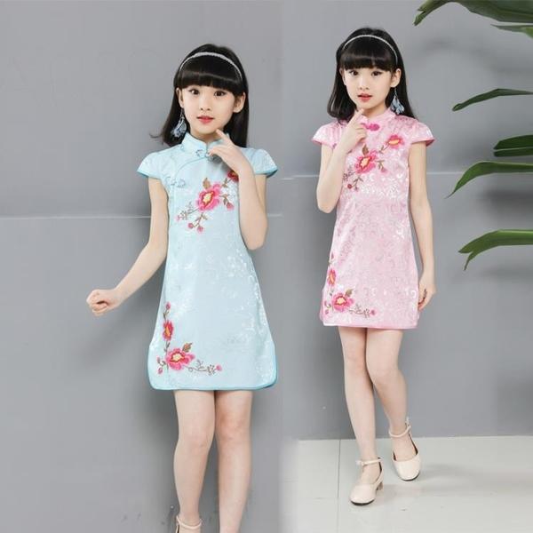 伊人 旗袍兒童女夏公主民族風中大童繡花中國小女孩女童連身裙
