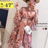 洋裝--優雅俏麗V領荷葉袖綁帶印花雪紡連身裙(粉.綠L-3L)-D578眼圈熊中大尺碼◎