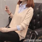 假兩件襯衫女長袖2020春裝新款洋氣寬鬆襯衣女裝韓版很仙的上衣潮  圖拉斯3C百貨