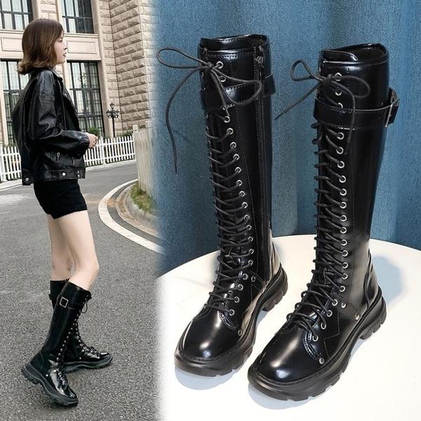 現貨 長靴長筒靴女西部騎士靴不膝上靴秋季新款黑色英倫復古瘦腿靴子
