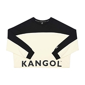 KANGOL 女款黑白下擺大LOGO短版長袖上衣-NO.6052100101
