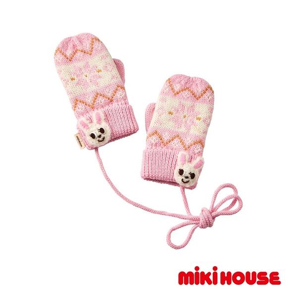 MIKI HOUSE 舞颯兔雪花針織連指保暖手套