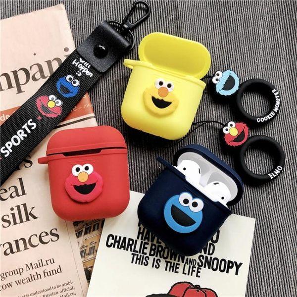 AirPods保護套硅膠潮可愛卡通芝麻街韓國蘋果無線藍牙耳機盒子殼 安妮塔小舖