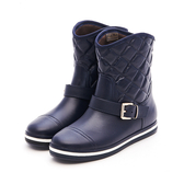 MICHELLE PARK 極致優雅顯瘦飾扣菱格紋短筒防水雨靴-藍