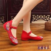 舞蹈鞋 新款牛筋厚底民族風一字扣女單繡花布鞋 BF12135【花貓女王】