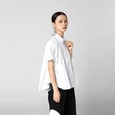 襯衫-短袖純色兩側抽繩繫帶寬鬆女上衣2色73th17【時尚巴黎】