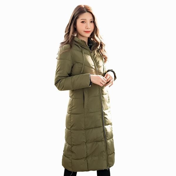 修身--保暖立領連帽拉鍊口袋A字顯瘦長版鋪棉外套(黑.紅.綠L-3L)-J261眼圈熊中大尺碼