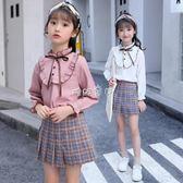 女童长袖套装 女童秋季2018新款韓版套裝中大童時尚長袖潮衣女孩洋氣兩件套裙子 珍妮寶貝