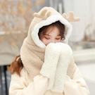 麋鹿圍巾女可愛少女百搭韓版帽子圍脖手套一體冬日系 快速出貨