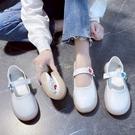 新款護士鞋鏤空皮面圓頭軟底防水臺白色坡跟女平底媽媽鞋休閑單鞋 快速出貨