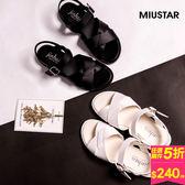 MIUSTAR 輕量皮革交叉金屬扣環涼鞋(共2色,22.5-25)【NE1684ZP】預購