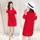 女短裙棉麻裙子大碼減齡遮肚子洋氣紅色連身裙女夏遮肉胖mm短裙 爾碩數位3c