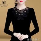 薄款加絨加厚秋衣女2020年新款黑色網紗打底衫女蕾絲時尚氣質上衣 蘿莉新品