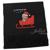 茱麗葉精品【新進品牌 獨家價】MOSCHINO 50093 M5164 刺繡聖誕熊羊毛流蘇圍巾.黑