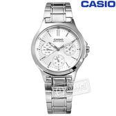 CASIO / LTP-V300D-7A / 卡西歐簡約三眼三針星期日期防水不鏽鋼手錶 銀色 32mm