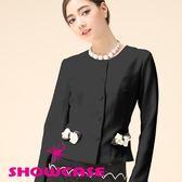 【SHOWCASE】珍珠蝴蝶結圓領外套(黑)
