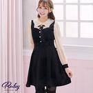 洋裝 娃娃領透膚假兩件長袖洋裝-Ruby s 露比午茶