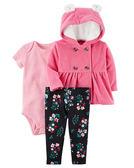 3件組連帽刷毛外套+短袖包屁衣+長褲套裝: 糖果粉小熊: 121H644