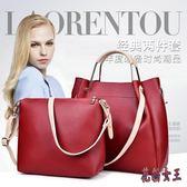 女士子母包兩件套 包包2019新款潮女包歐美時尚流蘇單肩手提包 QX16110 【花貓女王】