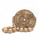 晚宴包-復古圓型木珠竹編包鏤空女肩背包3色73vj12【巴黎精品】